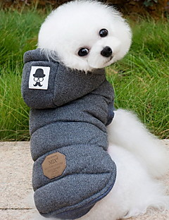 Dog Coat Hoodie Vest Dog Clothes Winter Spring/Fall Solid Fashion Keep Warm Gray Blue