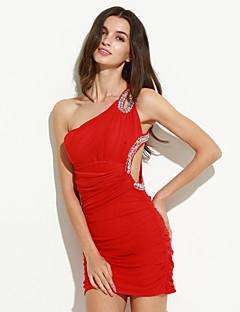 השמלה של נשים כתף אחת מיני, אדום הכחול סקסי / bodycon השחור אורגנזה / /