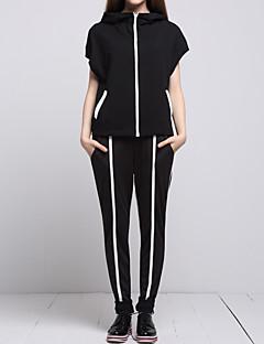 Dames Eenvoudig / Street chic Lente / Zomer Set Pantalon Suits,Casual/Dagelijks Kleurenblok Capuchon Korte mouw Zwart Katoen Medium