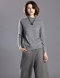 Damen Kurz Pullover-Lässig/Alltäglich Einfach Solide Grau Rundhalsausschnitt Langarm Wolle / Kaninchen-Pelz / Kunstseide / Nylon Winter