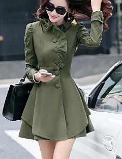 Høj krave Langærmet Medium Dame Rosa / Grøn / Gul Ensfarvet Efterår / Vinter Simpel / Street Casual/hverdag Frakke,Polyester