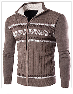 בינוני (מדיום) סתיו / חורף צמר שרוול ארוך עומד כחול / בז' / חום קולור בלוק פשוטה יום יומי\קז'ואל סוודר רגיל גברים מיקרו-אלסטי