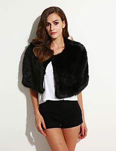 Women's Going out / Party/Cocktail Sexy / Simple / Chinoiserie Fur Coat,Solid Round Neck Sleeveless Fall /