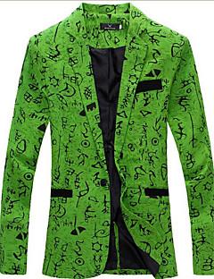 Erkek Keten Uzun Kollu Gömlek Yaka Bahar / Sonbahar Desen Sade Dışarı Çıkma / Parti/Kokteyl Beyaz / Bej / Yeşil-Erkek