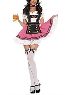 Fantasias de Cosplay Festa a Fantasia Oktoberfest Festival/Celebração Trajes da Noite das Bruxas Patchwork Peitilho VestidoDia Das Bruxas