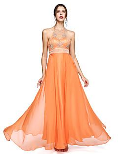A-Şekilli Boyundan Bağlamalı Yere Kadar Şifon Balo Resmi Akşam Elbise ile Boncuklama tarafından TS Couture®