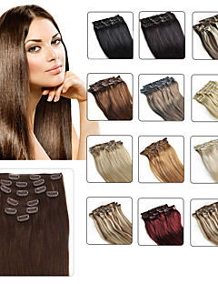 "Clip In Human Hair Extensions 20""-24"" White Blonde(#60) 8pcs/set"