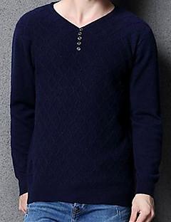 Masculino Padrão Pulôver,Casual Simples Sólido Azul / Vermelho / Bege / Preto / Amarelo Decote V Manga Longa Lã Outono / Inverno Média