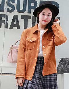Damen Solide Einfach Lässig/Alltäglich / Übergröße Jacke,Herbst / Winter Langarm Orange Dick Acryl