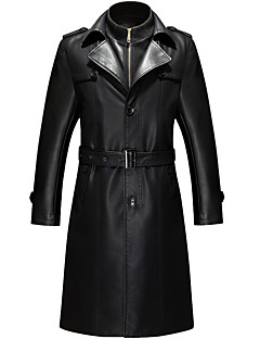 Men's Special Occasion / Plus Size / Casual/Daily Street chic / Punk & Gothic / Tops Fur Coat,Solid Shirt Collar Long Sleeve Winter Black