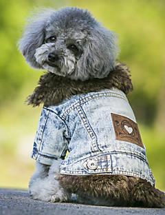 Hunder Frakker Denimjakker Hundeklær Cowboy Mote Hold Varm Jeans Svart Blå