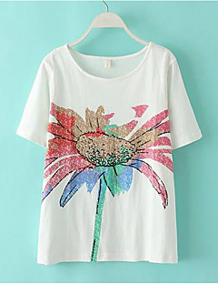 Women's Going out / Beach / Holiday Sexy / Cute / Chinoiserie T-shirt,Solid Round Neck Long Sleeve Pink / White / Green Cotton