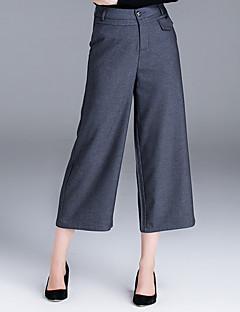 Femme Ample Entreprise Pantalon,simple Décontracté / Quotidien Couleur Pleine Taille Normale Bouton Coton Micro-élastique Sangle / Automne
