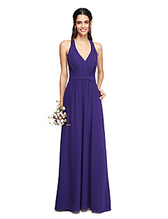 2017 Lanting Bride® Floor-length Chiffon Elegant Bridesmaid Dress - Sheath / Column V-neck with Draping