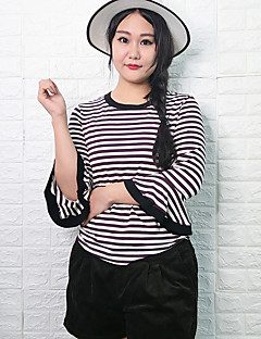 Mujer Simple Casual/Diario / Tallas Grandes Primavera / Otoño Camiseta,Escote Redondo A Rayas 3/4 Manga Algodón Marrón Medio