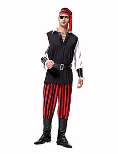 Cosplay Costumes Party Costume Masquerade Pirate Career Costumes Festival/Holiday Halloween Costumes Red Black PrintTop Pants Headpiece