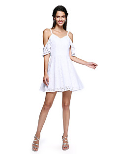 TS Couture® Coquetel Vestido - Mini Eu Linha A Com Alças Finas Curto / Mini Algodão com Babados