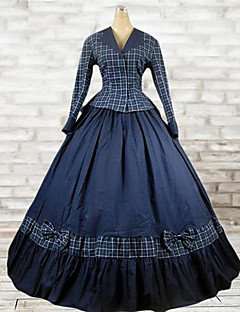 Outfits Classic/Traditional Lolita Lolita Cosplay Lolita Dress Ink Blue Plaid Long Sleeve Floor Length Top / Dress For Women Cotton