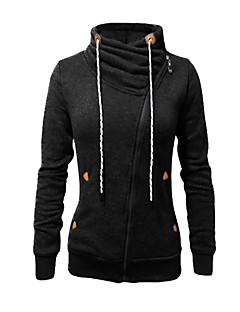 Women's Casual/Daily Active Simple Hoodie Jacket Solid Micro-elastic Polyester Long Sleeve Fall Winter