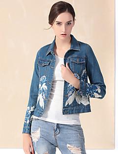 רקמה פשוטה יום יומי\קז'ואל ז'קטים מג'ינס נשים,כחול שרוול ארוך חורף עבה כותנה / פוליאסטר
