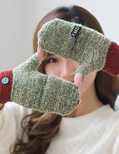 kvinder akryl halv finger håndled længde, farve blok afslappet vinter