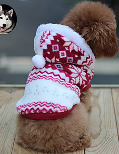 Cat Dog Coat Hoodie Dog Clothes Keep Warm Fashion Snowflake Brown Ruby Blue