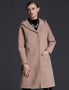 Casual/hétköznapi Egyszerű Őszi / Téli-Női Kabát,Egyszínű Kapucni Hosszú ujj Barna Gyapjú Közepes vastagságú