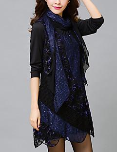 Feminino Rendas Vestido,Informal / Tamanhos Grandes Moda de Rua Sólido Decote Redondo Assimétrico Manga Longa Azul / Roxo Poliéster Outono