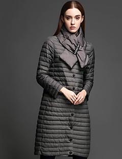Damen Daunen Mantel,Lang Einfach Lässig/Alltäglich Solide-Nylon Weiße Entendaunen Langarm Grau Ständer