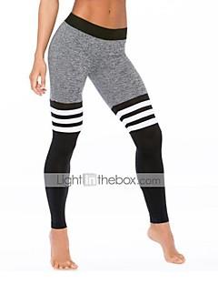 Feminino Skinny Calças Esportivas Calças-Listrado Casual Activo Cintura Alta Elasticidade Poliéster Stretchy Outono / Inverno