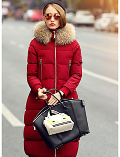 Women's Regular Padded Coat,Cute Casual/Daily Solid-Polyester Polypropylene / White Duck Down Long Sleeve Red / Black / Green
