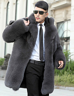 Men's Plus Size Street chic Fur Coat,Solid Shirt Collar Long Sleeve Winter Gray Faux Fur Thick