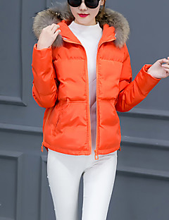 Women's Short Padded Coat,Simple Going out Solid-Polyester Polypropylene Long Sleeve Hooded Blue / Pink / Green / Orange