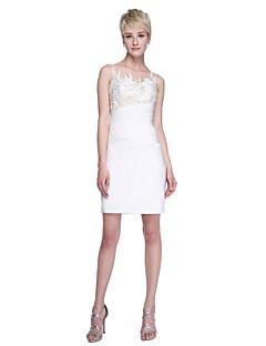 Lanting Bride® קצר \ מיני תחרה סאטן נמתח אלגנטי אמא ובת שמלה לשושבינה  - מעטפת \ עמוד עם תכשיטים עם אפליקציות קפלים
