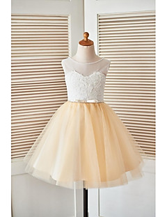 A-line Knee-length Flower Girl Dress - Lace / Tulle Sleeveless Scoop with Beading / Lace / Sash / Ribbon