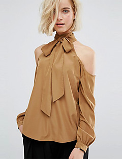 Women's Casual All Match Shirt Solid Bow Turtleneck Leakage Shoulder Long Sleeve