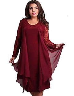 Women's Simple Solid Plus Size / Loose Dress,Round Neck Knee-length