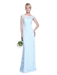 LAN TING BRIDE Floor-length Jewel Bridesmaid Dress - Beautiful Back Sleeveless Lace