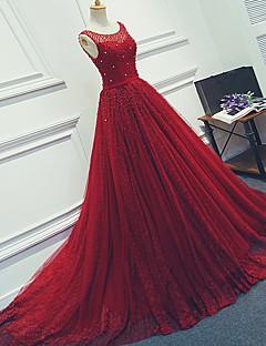 Serata formale Vestito Da ballo Stondata Strascico di corte Tulle con Perline / Fascia / fiocco in vita