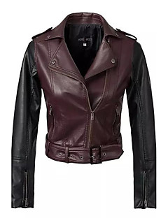 Dames Eenvoudig / Street chic Herfst / Winter Leren jacks,Casual/Dagelijks Overhemdkraag-Lange mouw Rood Patchwork Medium PU / Polyester
