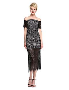 Lanting Bride® באורך הקרסול תחרה שקוף שמלה לשושבינה  - מעטפת \ עמוד מתחת לכתפיים עם תחרה