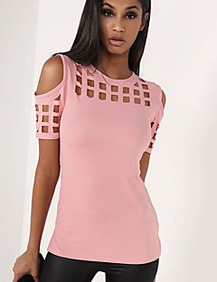 Feminino Camiseta Para Noite / Casual Simples / Moda de Rua Verão,Sólido Rosa / Vermelho / Preto / Cinza Poliéster Decote RedondoManga