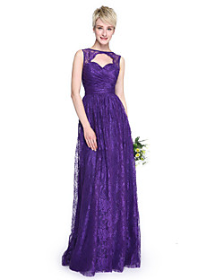 2017 Lanting Bride® Floor-length Lace Elegant Bridesmaid Dress - Sheath / Column Bateau with Criss Cross / Ruching