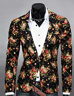 Men's Long Sleeve Regular Blazer , Cotton Blend Print