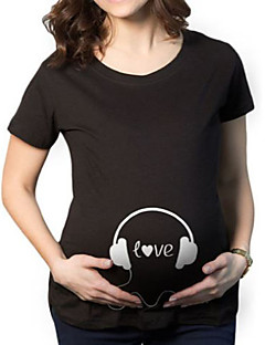 Schwangerschaft Druck Einfach Lässig/Alltäglich T-shirt,Rundhalsausschnitt Kurzarm Schwarz Baumwolle