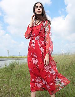 Dame Vintage Casual/hverdag Skede Kjole Blomstret,Firkantet hals Midi Langærmet Blå / Rød Silke Efterår Alm. taljede Uelastisk Medium