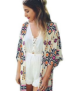 Women's Casual/Daily Simple Fall Shirt,Print Cowl ½ Length Sleeve Beige Cotton Medium