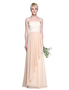 2017 Lanting Bride® Floor-length Chiffon / Lace Elegant Bridesmaid Dress - Sheath / Column Sweetheart with Pleats