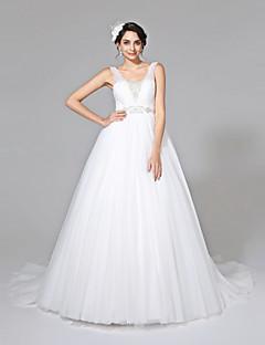 Lanting Bride® Balkjole Brudekjole - Klassisk og tidsløs Åben Ryg Kapelslæb Stropper Tyl med Bælte / bånd Sidedrapering Perler