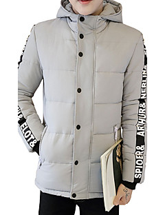 Men's Regular Padded Coat,Simple / Cute / Street chic Plus Size / Casual/Daily / Holiday Solid / Letter-Cotton / Polyester CottonLong